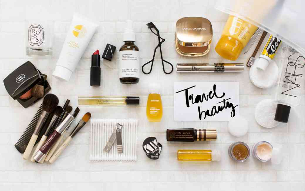 A range of travel beauty essentials including skin, hair and makeup.