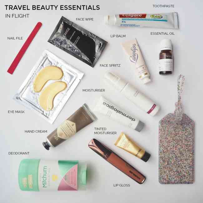 Labelled collage of in-flight beauty essentials you should pack into your carry on.