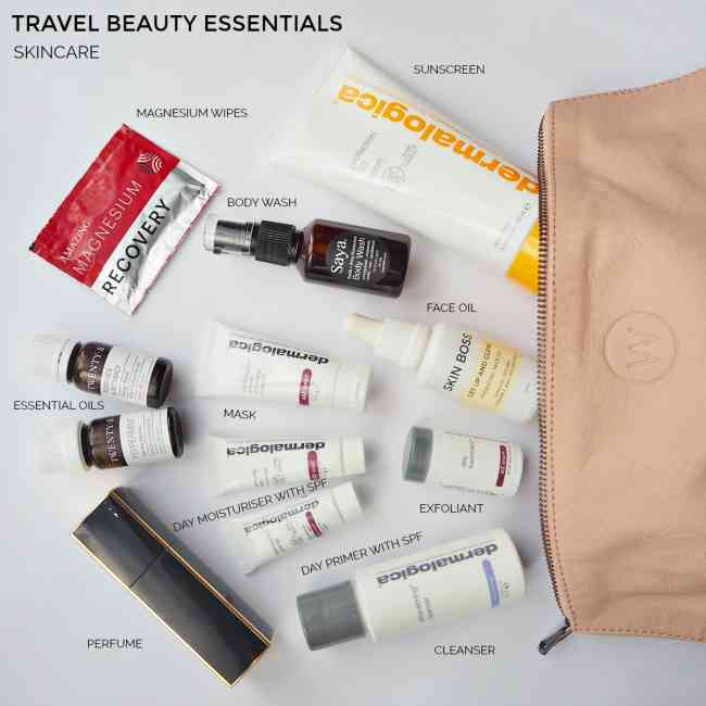 Collage of labelled travel skincare essentials.