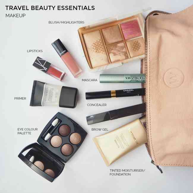 Collage of labelled makeup travel beauty essentials.