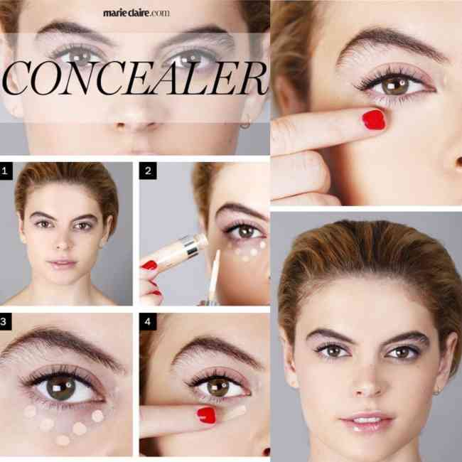 Step by step image of woman applying peach toned concealer.