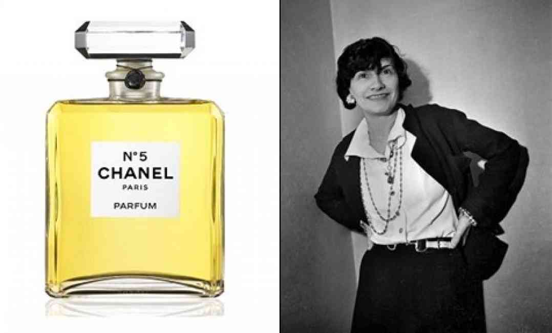 Chanel No.5 perfume bottle collaged next to a portrait of Coco Chanel.