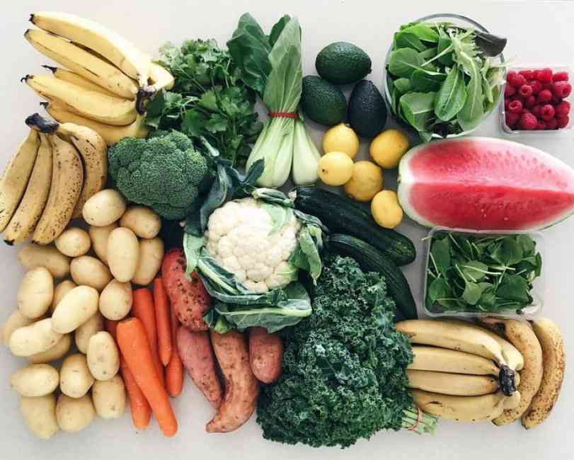 Clean eating with fruit and vegetables like bananas, potatos, cauliflower, brocolli