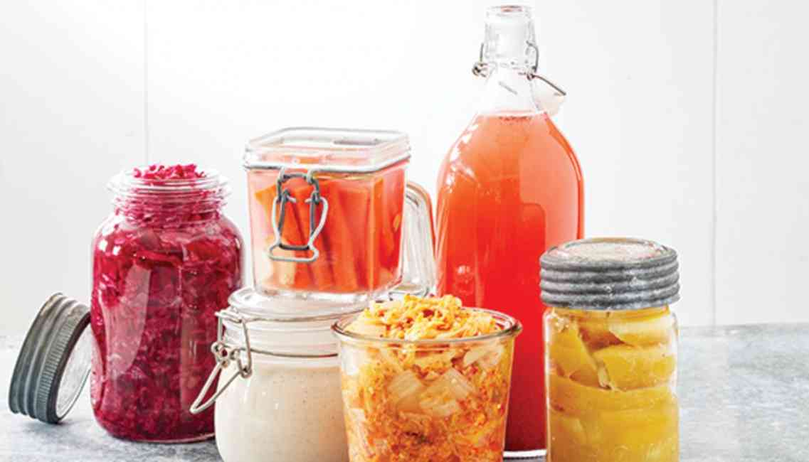 Fermented food and drink products including sauerkraut and kombucha which aids as a probiotic to balance bacteria in the gut