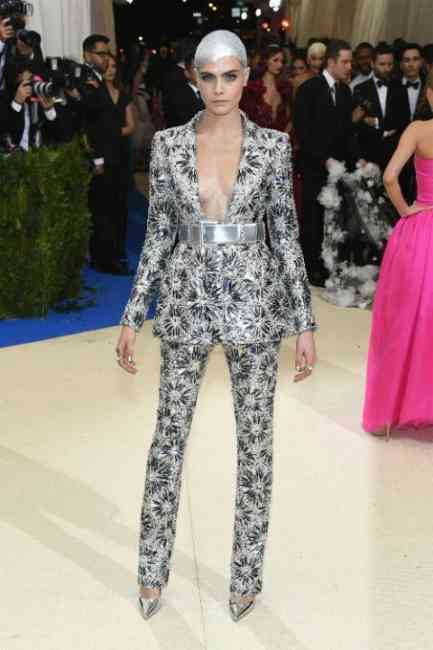 Cara Delevinge at the Met Gala Ball 2017