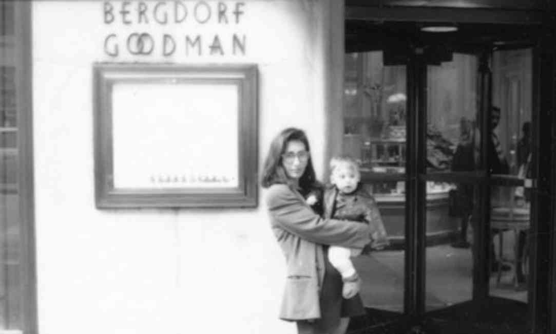 Bobbi Brown pictured with her son out the front of Bergdorf Goodman, the store that first released her makeup line.