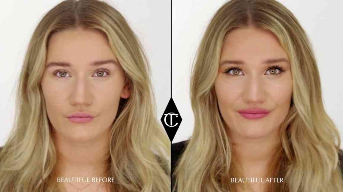 Before and after of a woman having her makeup done using Charlotte Tilbury's techniques detailed in her YouTube videos.
