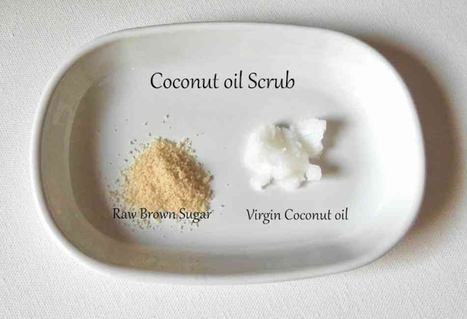 Visual recipe of a coconut oil body scrub, equal parts sugar and coconut oil.