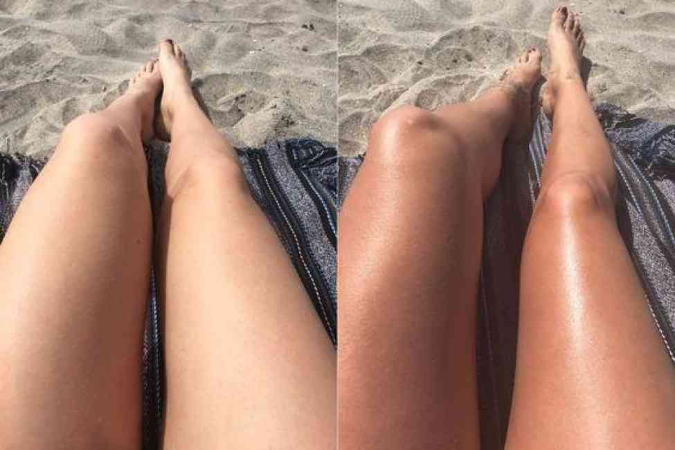 Legs tanning on the beach. Left: without coconut oil. Right: with coconut oil.