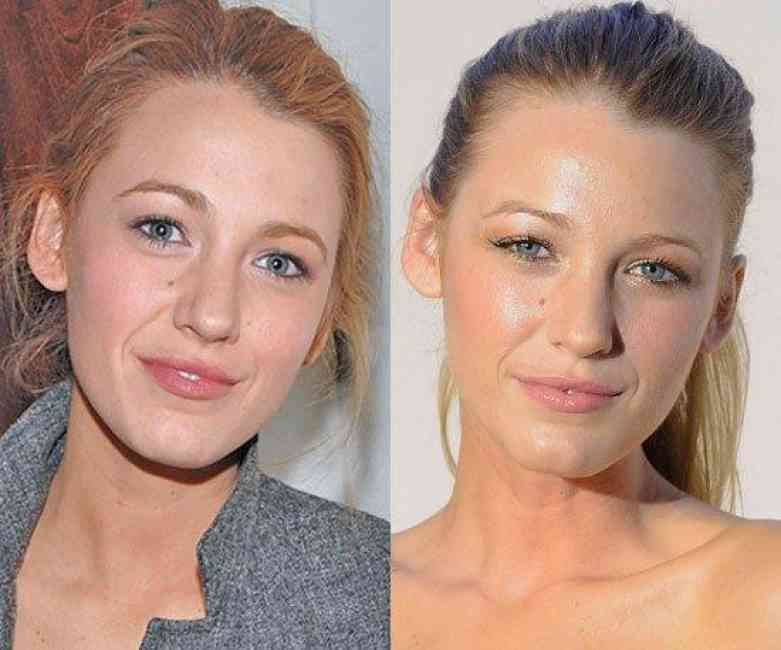 Two portraits of Blake Lively. One with no makeup, the other with natural makeup.