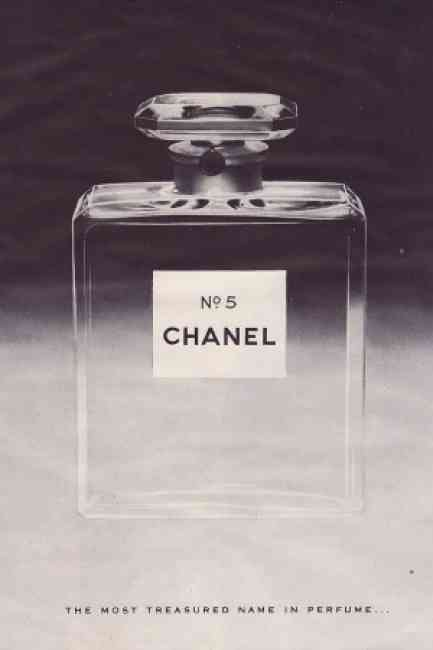 """Vintage advertisement of Chanel No.5 """"the most treasured name in perfume..."""""""