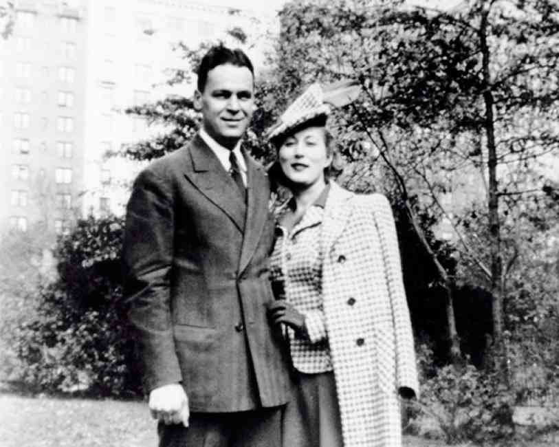 Estée Lauder posing with her husband and business partner Joseph Lauder.