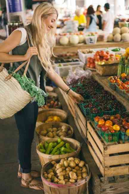Woman shopping for healthy fruit and vegetables