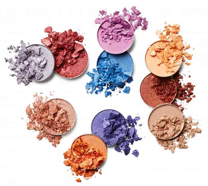 Range of different coloured powder eye shadows