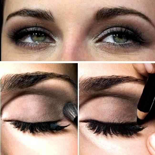 Kristen Stewart getting a smoky eye applied to her with both shadow and liner.