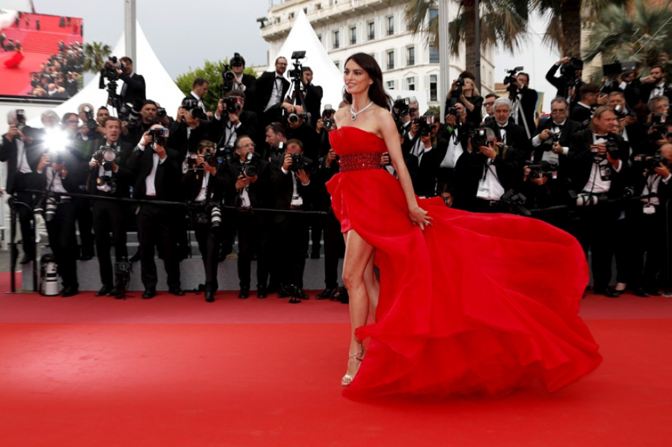 Red Dress on Red Carpet with Paparazzi