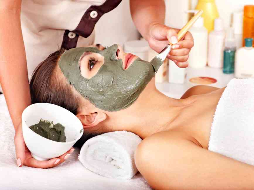 Beautiful woman getting a facial